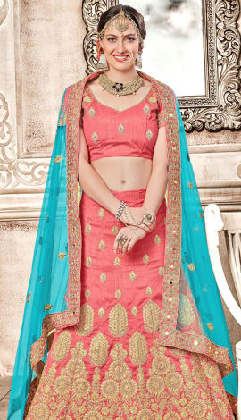 Light Pink Banglori Silk Lehenga