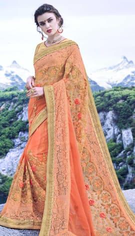 Light Orange Pure Georgette Saree