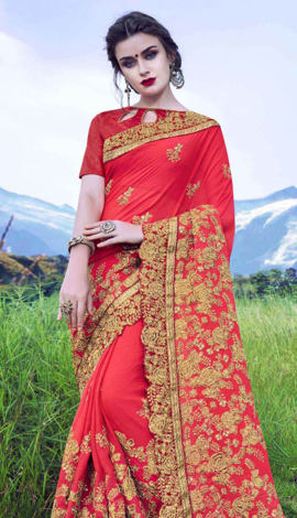 Royal Red Moss Georgette Saree