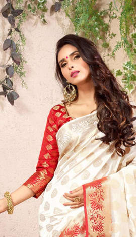 White & Red Cotton Silk Saree