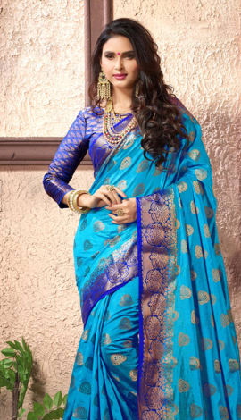 Aqua Blue Cotton Silk Saree