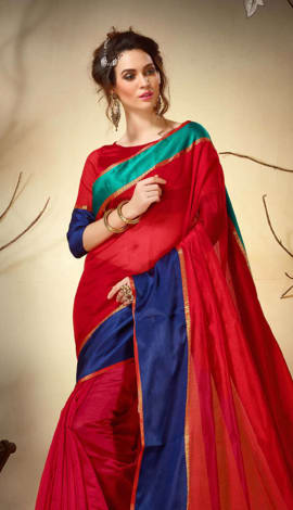 Red & Blue Cotton Silk Saree