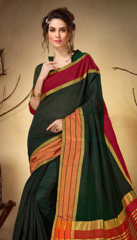 Olive Green Cotton Silk Saree