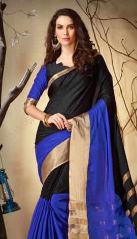Black & Blue Cotton Silk Saree