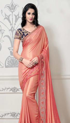 Peach Silk Saree