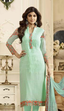Turquoice Blue Georgette Salwar Kameez