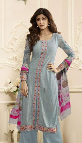 Pastal Blue Georgette Salwar Kameez