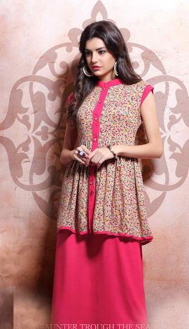 Light Pink Rayon Cotton & Lenon Kurti