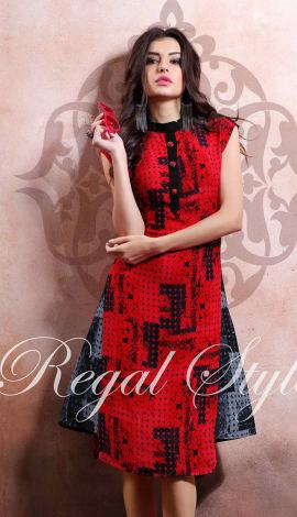 Red Rayon Cotton & Lenon Kurti