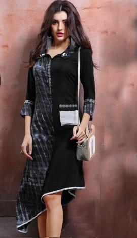Black Rayon Cotton & Lenon Kurti