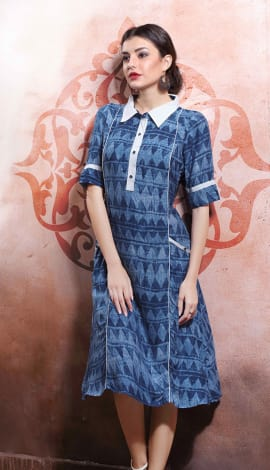 Light Blue Rayon Cotton & Lenon Kurti