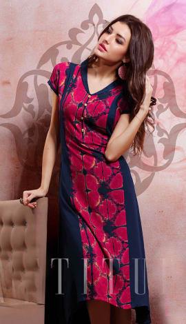 Red & Black Rayon Cotton & Lenon Kurti