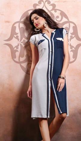 White & Blue Rayon Cotton & Lenon Kurti