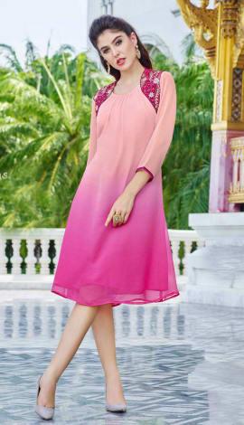 Pink Georgette Kurti