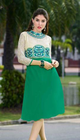 White And Green Georgette Kurti