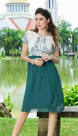 White And Sea Green Georgette Kurti
