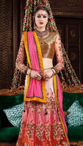 Pink , Gold Premium Net Lehenga