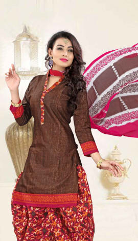 Brown Poly Cotton Salwar Kameez