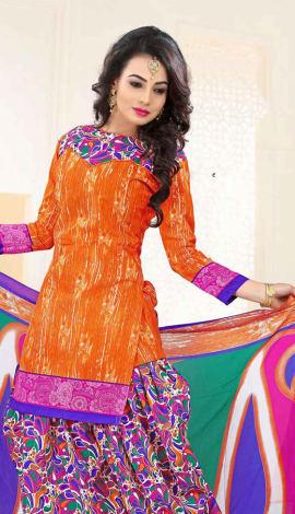 Orange Poly Cotton Salwar Kameez