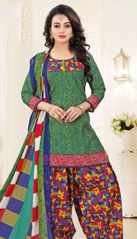 Green Poly Cotton Salwar Kameez