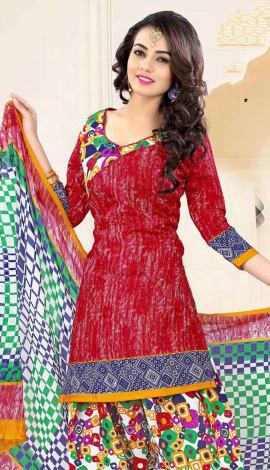 Red Poly Cotton Salwar Kameez