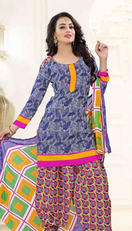 Blue Poly Cotton Salwar Kameez