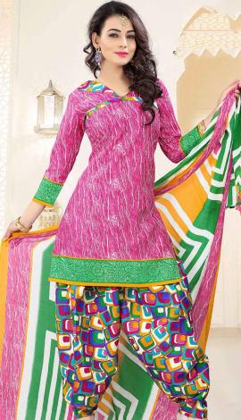 Pink Poly Cotton Salwar Kameez
