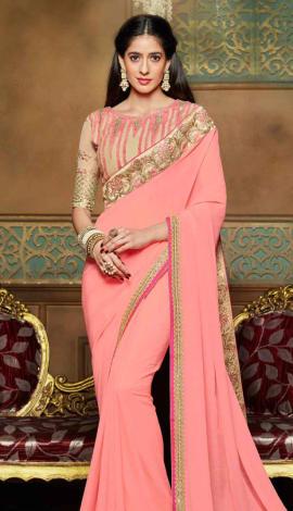 Dusty Pink Chiffon Saree
