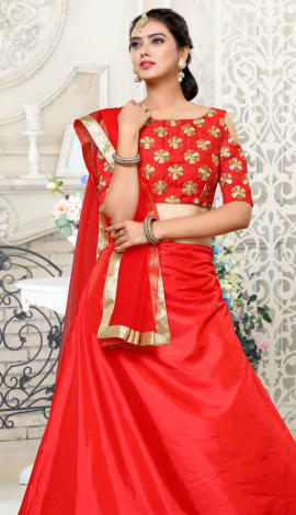 Red Pure To-Tone Paper Silk Lehenga