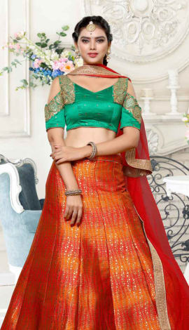 Red And Orange Pure Banarasi Jaquard Lehenga