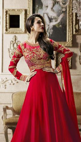 Red Heavy Georgette Salwar Kameez
