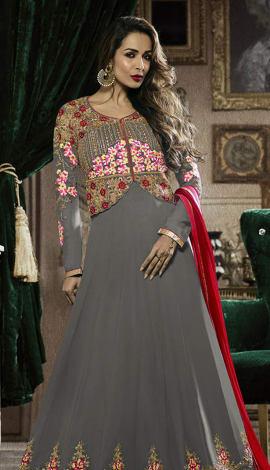 Grey Heavy Georgette Salwar Kameez
