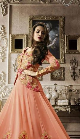 Peach Heavy Georgette Salwar Kameez