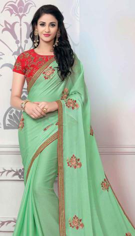 Light Green Chiffon Saree
