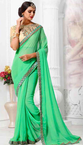 Light Green Georgette Saree