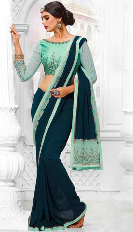 Dark Green Georgette Saree