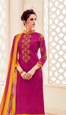 Top : Pink, Bottom & Lehenga : Yellow, Dupatta : P Top : Semi Cotton, Bottom : Semi Cotton, Dupatta : Salwar Kameez