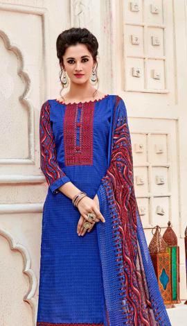 Top : Blue, Bottom & Lehenga : Red, Dupatta : Blue Top : Semi Cotton, Bottom : Semi Cotton, Dupatta : Salwar Kameez