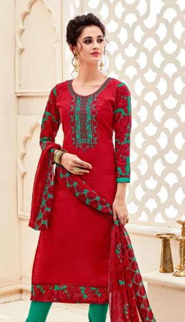Top : Red, Bottom & Lehenga : Green, Dupatta : Red Top : Semi Cotton, Bottom : Semi Cotton, Dupatta : Salwar Kameez