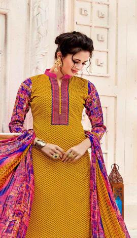 Top : Yellow, Bottom & Lehenga : Pink, Dupatta : Y Top : Semi Cotton, Bottom : Semi Cotton, Dupatta : Salwar Kameez