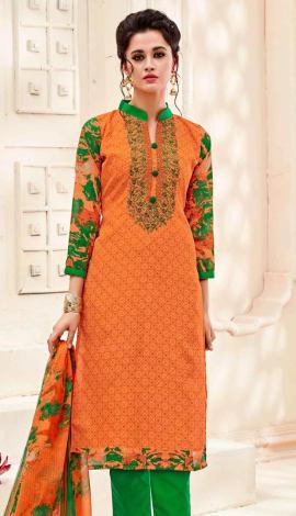 Top : Orange, Bottom & Lehenga : Green, Dupatta : Top : Semi Cotton, Bottom : Semi Cotton, Dupatta : Salwar Kameez