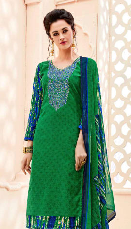 Top : Green, Bottom & Lehenga : Blue, Dupatta : Gr Top : Semi Cotton, Bottom : Semi Cotton, Dupatta : Salwar Kameez