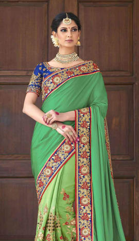 Saree : Green, Blouse : Blue Saree : Georgette, Blouse : Art Silk Saree