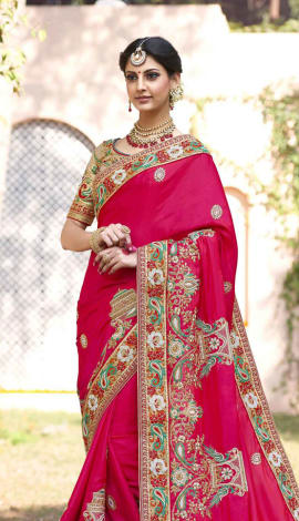 Saree : Pink, Blouse : Beige Saree : Georgette, Blouse : Art Silk Saree