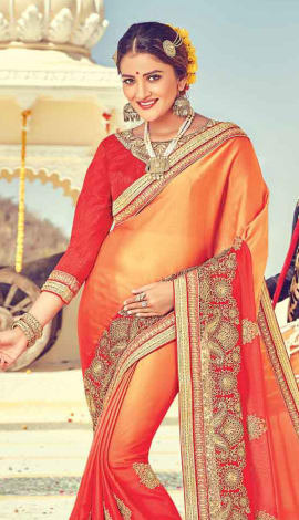 Orange & Red Georgette Saree