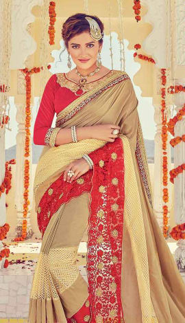Red & Beige Georgette Saree