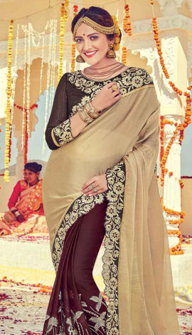 Beige & Brown Georgette Saree