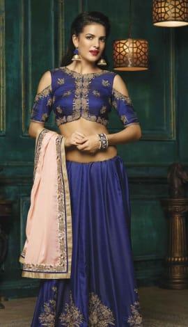 Peach With Blue Crepe With Silk Satin Saree
