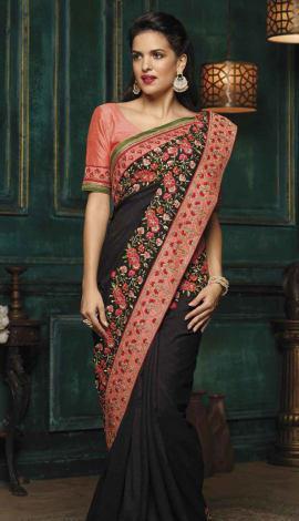 Black Tambour Silk Saree