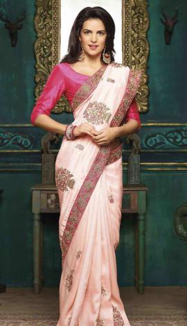 Peach Charmeuse Silk Saree